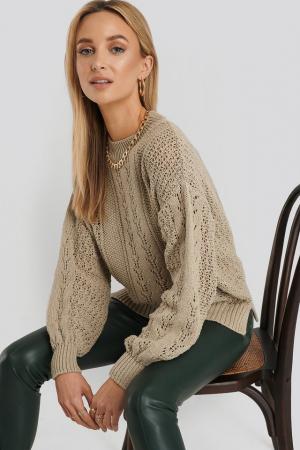 Round Neck Pointelle Sweater NA-KD, Beige0