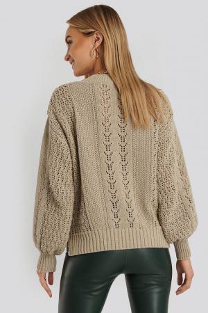 Round Neck Pointelle Sweater NA-KD, Beige2