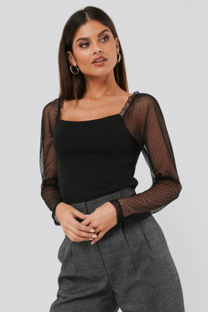 Bluza Sheer Contrast Sleeve Square Neck Top [0]