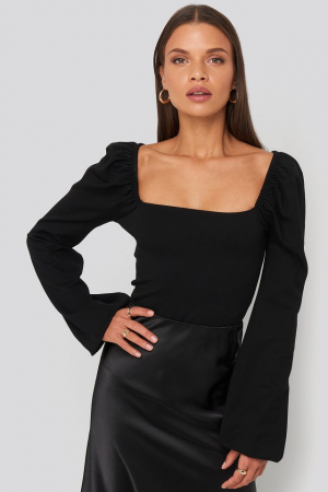 Square Neck Balloon Sleeve Top0