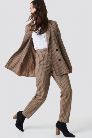 Pantaloni Straight Leg Striped Suit0