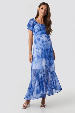Rochie Tie Dye Puff Sleeve Maxi0