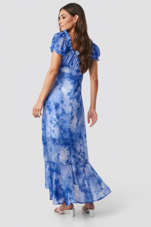 Rochie Tie Dye Puff Sleeve Maxi1