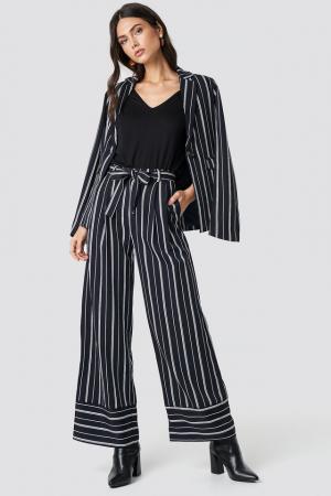 Pantaloni Tie Waist Striped Wide0