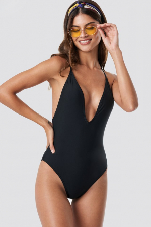 Tied Back Plunge Swimsuit0