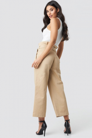 Pantaloni Tied Waist Wide Cotton Pants NA-KD Trend3
