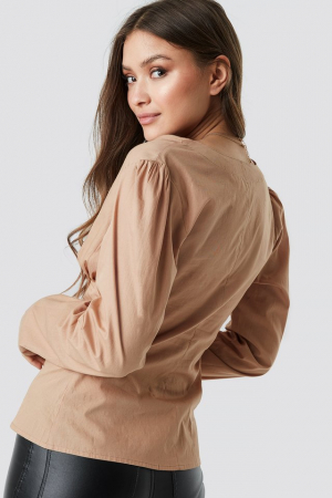Top Bluza V-Neck Buttoned Front LS [1]