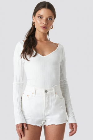 Bluza V-neck Ribbed Long Sleeve0