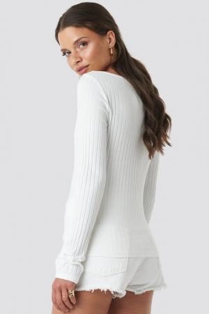 Bluza V-neck Ribbed Long Sleeve1
