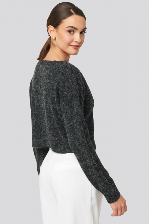 Pulover V-neck  Cropped Knitted [1]