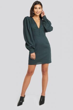 Rochie V-Neck Puff Sleeve0