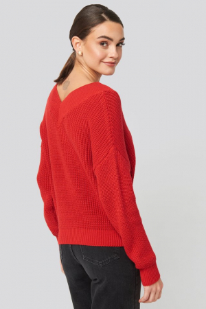 Pulover V-Neck Wide Rib Knitted [1]