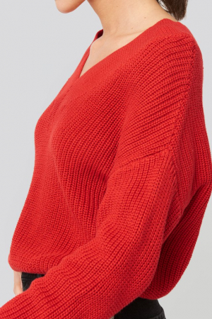 Pulover V-Neck Wide Rib Knitted [3]