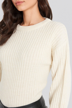 Pulover Wool Blend Ribbed Knitted1