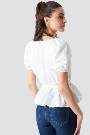 Top Wrap Over Puff Sleeve3