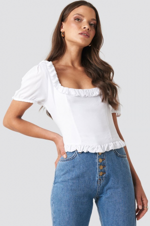 Colleen Cropped Frill Top0