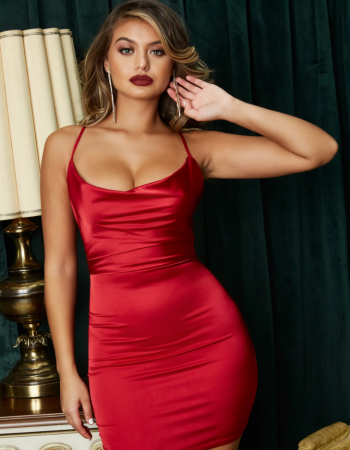 Rochie On The Prowl Strappy Cowl Neck Satin [0]