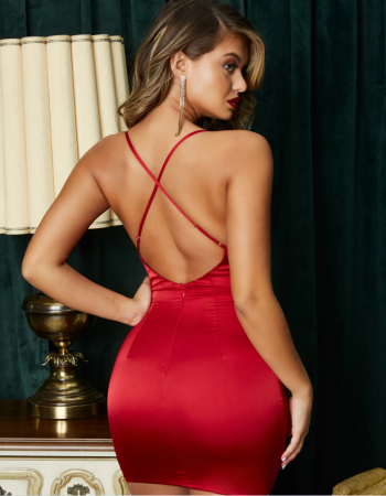Rochie On The Prowl Strappy Cowl Neck Satin [1]