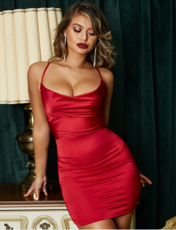 Rochie On The Prowl Strappy Cowl Neck Satin [3]