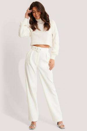 Pantaloni Belted Pleat Straight [0]