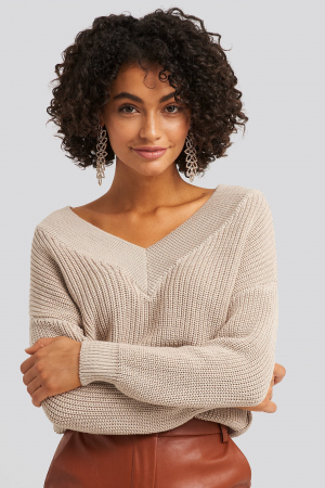 Pulover V-Neck Wide Rib Knitted0