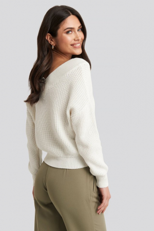 Pulover V-Neck Wide Rib Knitted3