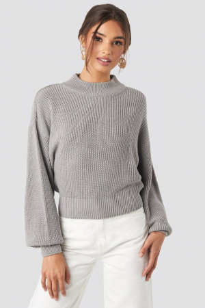 Pulover Volume Sleeve High Neck Knitted Sweater [0]