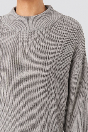 Pulover Volume Sleeve High Neck Knitted Sweater [2]