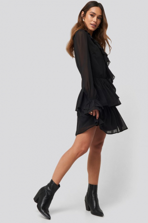 Chiffon Flounce Dress2