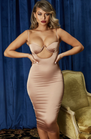 ROCHIE AHEAD OF THE CURVE SATIN CUT OUT MIDI [3]