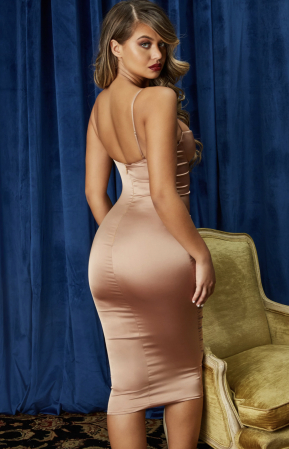 ROCHIE AHEAD OF THE CURVE SATIN CUT OUT MIDI [5]
