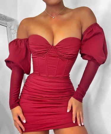 Rochie Can't Get Enough Bardot Puff Sleeve0