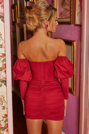Rochie Can't Get Enough Bardot Puff Sleeve2