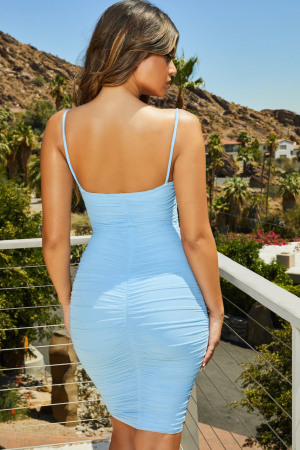 ROCHIE FIRST DATE RUCHED MESH BODYCON KNEE LENGTH [1]