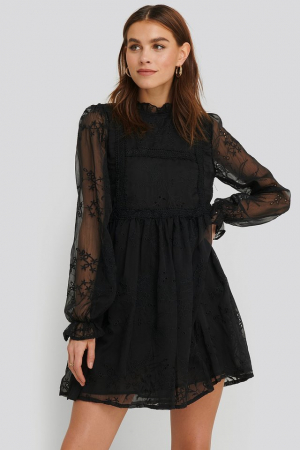 Rochie Frill Neck Embroidery0
