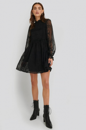 Rochie Frill Neck Embroidery1