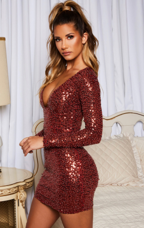 Rochie Good To Glow Long Sleeve Backless Embellished Mini [2]