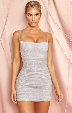 Rochie  In The Spotlight Ruched Mesh Embellished [0]