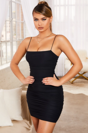Rochie SIMPLY BLISS RUCHED MESH BODYCON MINI2