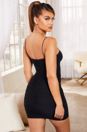 Rochie SIMPLY BLISS RUCHED MESH BODYCON MINI4