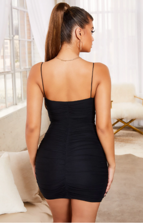 Rochie SIMPLY BLISS RUCHED MESH BODYCON MINI5