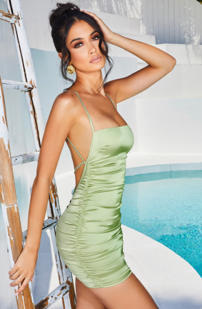 Rochie Sweetener Backless Runched Satin Mini0