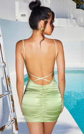 Rochie Sweetener Backless Runched Satin Mini1