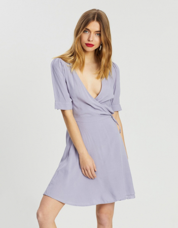 Rochie Wrap Puff Sleeve Mini Dress0