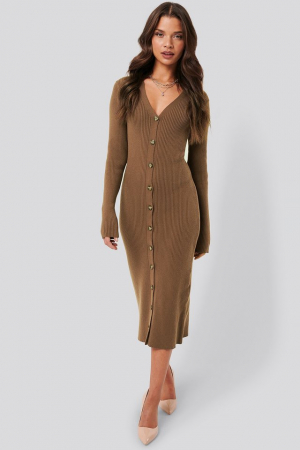 Rochie Ribbed Knitted Midi0