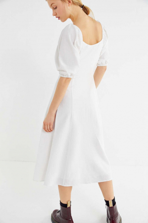 Rochie Puff Sleeve Button-Front Midi1