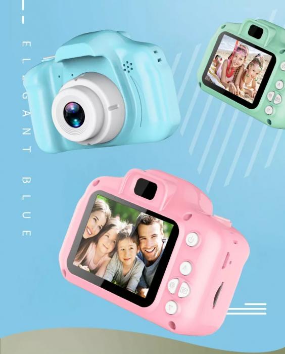 Aparat foto copii Full HD, Digital camera Record LCD , 2.0 inch ,AVI,  jpg, Micro SD, View 140, memorie interna 128M, rezistent la apa [5]