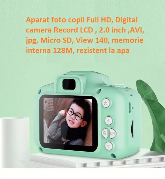 Aparat foto copii Full HD, Digital camera Record LCD , 2.0 inch ,AVI,  jpg, Micro SD, View 140, memorie interna 128M, rezistent la apa [6]