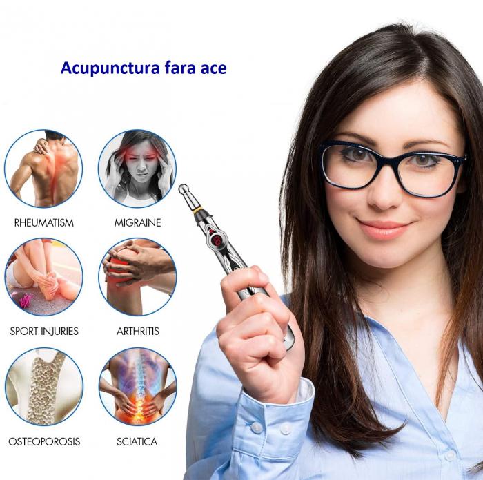 Aparat pentru masaj, acupunctura fara ace, cu 2 capete si afisaj LED Massager Pen [7]