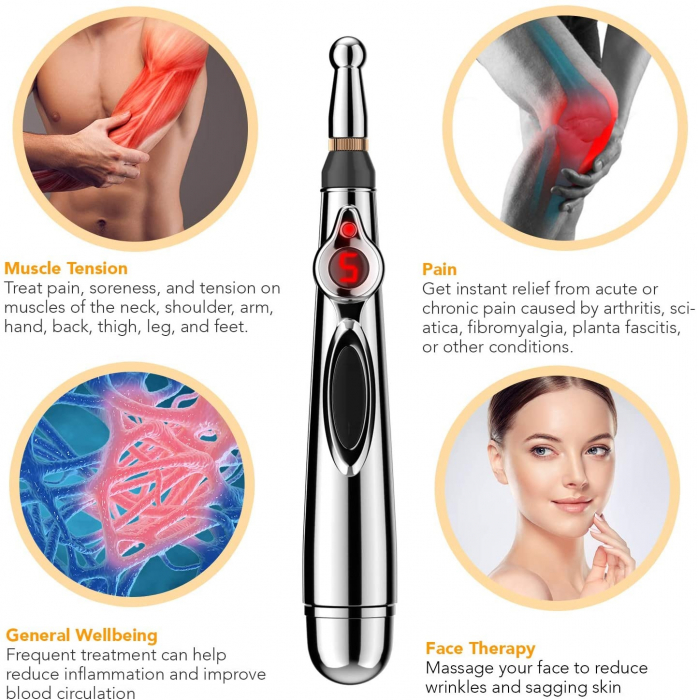 Aparat pentru masaj, acupunctura fara ace, cu 2 capete si afisaj LED Massager Pen [9]